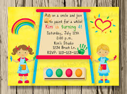 kids painting or art party invitation print your own 5x7 or 4x6 kids painting or art party invitation