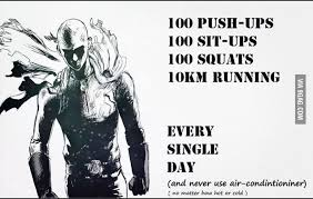 One Punch Man training routine - 9GAG via Relatably.com