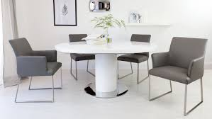 extendable dining table set: round white gloss extending dining table and real leather dining chairs youtube
