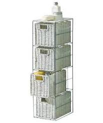 white storage unit wicker: fantastic looking stylish slimline  drawer storage tower metal frame amp wicker baskets