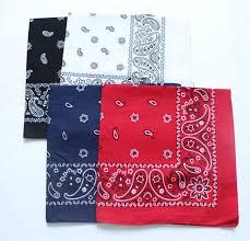 Cotton <b>Paisley Bandanas</b> Men Pocket Square Black Red White ...