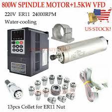 <b>800W Spindle Motor</b> L195mm ER11 4Bearing <b>Water</b>-<b>cool</b>+VFD ...