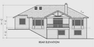 One Story House Plans  Daylight Basement House Plans  Side GarageHouse front drawing elevation view for One story house plans  daylight basement house plans