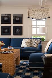 nantucket summer home inspiration for a mid sized timeless enclosed living room remodel in boston with dark blue sofa blue couch living room ideas