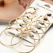 <b>6Pairs</b>/<b>Set</b> Women Gold <b>Silver</b> Metal Big Circle Large Ring Hoop ...
