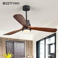 <b>BOTIMI</b> 220V <b>LED Ceiling</b> Fan For Living Room <b>Nordic</b> Wooden ...