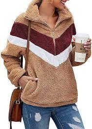 ZESICA <b>Women's Autumn Winter</b> Long Sleeve Zipper Sherpa Fleece