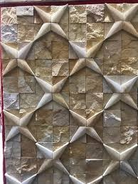 Teal Wood Star <b>Pattern</b> Mosaic <b>Stone Wall</b> Cladding at Rs 175 ...