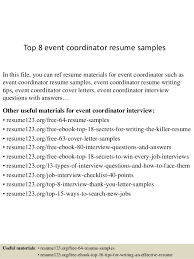 top  event coordinator resume samplestop  event coordinator resume samples in this file  you can ref resume materials for