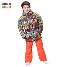Online Shop <b>GSOU SNOW Winter</b> Ski Suit For Boys Girls Waterproof ...