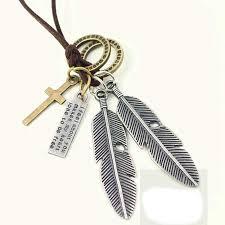 <b>Alloy</b> Rope Cool <b>Fashion Feather</b> Cross <b>Pendant Necklace</b> Cowhide ...