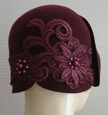 <b>Wine Red</b> Sueded Velour 1920 style Cloche with <b>beaded applique</b> ...