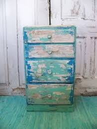 beach cottage distressed table with drawers aqua blue up cycled furniture by anita spero beachy furniture