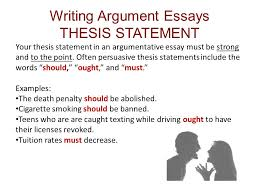 thesis statement for persuasive essay dnndmyipme ch reading and writing argument essays an argument is a line writing argument essays thesis statement