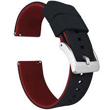 Black/Crimson <b>20mm</b> - Barton Elite <b>Silicone</b> Watch Straps - Quick ...