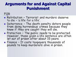 thesis against capital punishment   thesisarguments for and against capital punishment retribution s deserve to