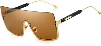 Buy Oversized <b>Square Sunglasses</b> Flat Top <b>Half Frame</b> Goggles ...
