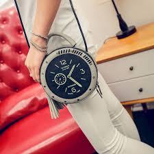 Hot Selling Ladies <b>Pu Leather</b> Messenger Bags Round <b>Clock</b> Shape ...
