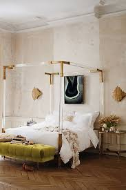 oscarine lucite four poster bed anthropologie style furniture