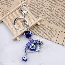 <b>Fashion Blue Evil Eye</b> Glass Bead Keychain Eye Keyring Crystal ...