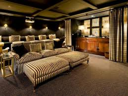 home cinema designs furniture. living room home theater brown puffy sofa soft bed cover pillow dark wooden cabinet carpet floor curtain black wall color wood cinema designs furniture