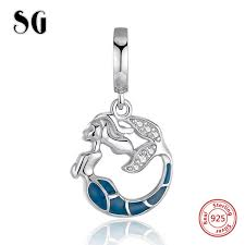 SG 925 sterling silver <b>charms</b> Mermaid glowing beads with Zirconia ...