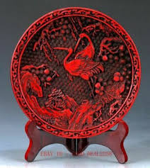 <b>Chinese</b> lacquerware <b>Handwork Carved</b> Crane & Flower <b>Collection</b> ...
