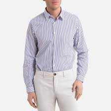 <b>Рубашка</b>-слим с длинными рукавами в полоску в бело-синюю ...