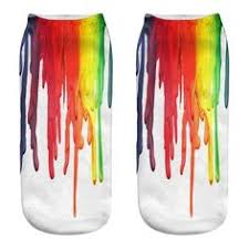 1pair <b>3D</b> Funny <b>Paint</b> Artist <b>Printed</b> Short <b>Socks</b> Lion Palm Wave ...