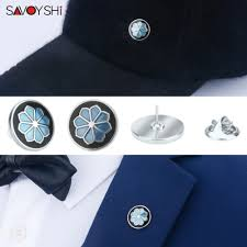<b>SAVOYSHI</b> Blue/Black Enamel Flower shape man <b>Lapel Pin</b> ...