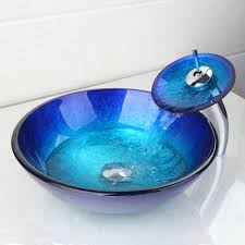 bathroom countertop basins wholesale: artist tempered glass bathroom designer vessel sink basin bowl faucet set with the pop up drain