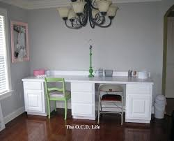 The OCD Life White Office Desks Made From Kitchen Cabinets And A