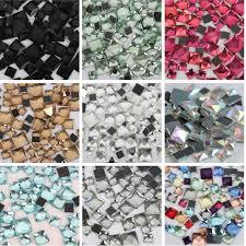 <b>Glass</b> 50 piece/lot 10mm FlatBack Stones <b>Square Crystals</b> ...