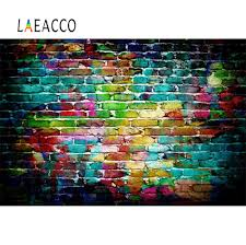 <b>Laeacco</b> Photo Backdrops Old <b>Colorful Brick</b> Wall Dark Party Decor ...