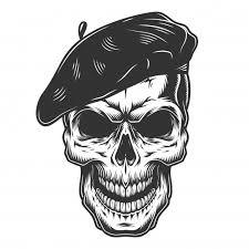 <b>Череп</b> в шляпе <b>художника</b>   Бесплатно векторы