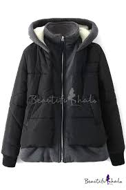 False Two-Piece Zipper Hooded <b>Thickened</b> Padded Coat ...