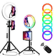 Zeus <b>2 in 1</b> RGB 26cm Beauty Ring <b>Fill Light</b>,<b>Phone</b>/Tablet Tripod ...