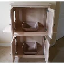 stacked double cat litter box cabinet with odor absorbing light cat litter box furniture 2