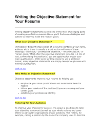 com page of business resume 10 sample resume objective statements