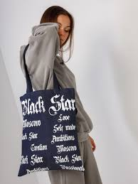 <b>Сумка</b>-<b>шоппер GOTHIC WORDS</b> DENIM, blue - BlackStar Wear