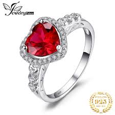 JewPalace Heart Of Ocean <b>3ct Created Ruby</b> Ring 925 Sterling ...