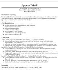 car sales consultant resume sample free resume evaluation auto sales resume