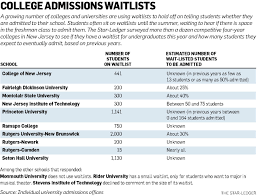 college waitlist limbo growing number of schools delaying in the past five years we have admitted between zero and 164 students off the wait list we do not know yet if we will be able to use the wait list