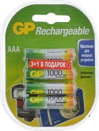 """Набор <b>аккумуляторов</b> """"<b>GP</b> Batteries"""", NiMh, 1000 mAh, тип <b>ААА</b>, 4 шт"""
