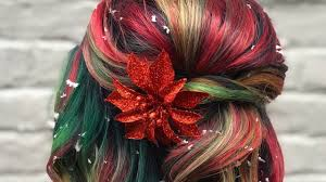 <b>Christmas Hair</b> Color With Red and Green Highlights Is Holiday ...