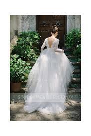 <b>Princess</b> A-line Lace Long Sleeve <b>Puffy</b> Tulle Spring <b>Wedding Dress</b>