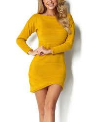 Score Big Savings: Ceylon Yellow <b>Sweater</b> Dress - Women