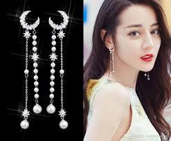 2019 <b>2019 New S925 Silver</b> Needle Star Moon Tassels Earrings For ...