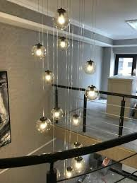 LED <b>Clear Glass Ball</b> Chandelier <b>Living</b> Room Pendant Lamp Stair ...