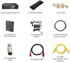 dans le pack box thd 4k de sfr il y a la box la tlcommande 2 ou 3 piles un disque dur un adaptateur secteur un cble antenne box home de sfr pack
